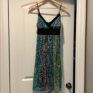 Blue / green / multicolor and black pattern dress